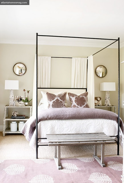 symmetry, canopy bed, madeline weinrib rug, purple bedroom, sofa palette, bed curtains, bench at end of bed