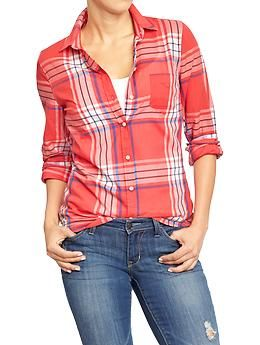 Old Navy Womens Plaid Button-Front Shirts