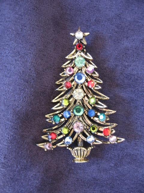 Hollycraft christmas tree pin brooch i48 ebay