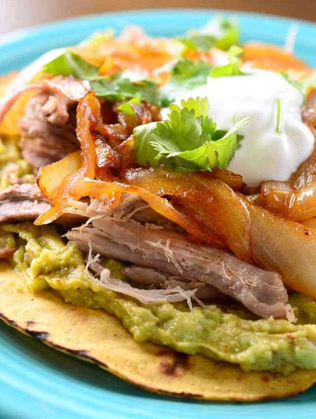 Pulled Pork Tostada with Chipotle Caramelized Onions | Recipe