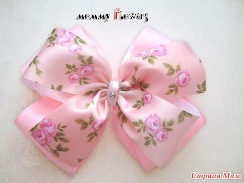 Розовые банты канзаши