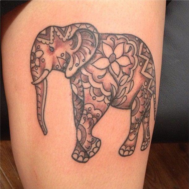 Mehndi Elephant Tattoo : Henna elephant tattoo by hannah skalsky tattooooooss