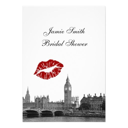 London England Skyline Kiss #1 BW V Bridal Shower Invitations