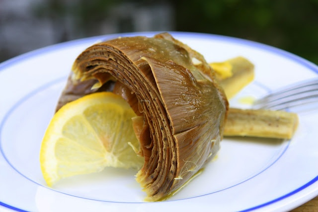 Oven braised artichokes with lemon, thyme, garlic and wine
