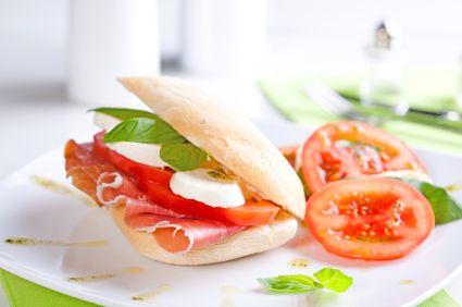 Mozzarella and Prosciutto Sandwich with Walnut Tapenade