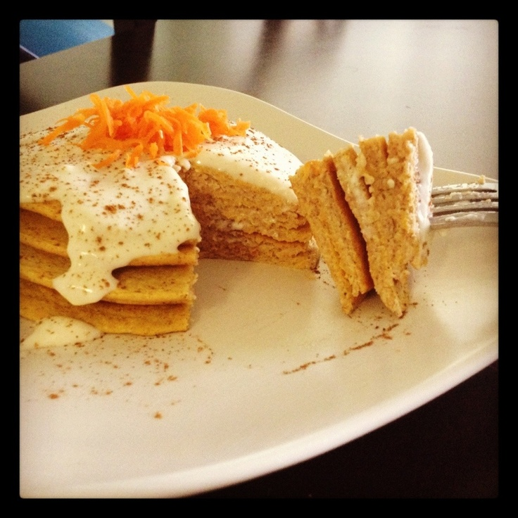 Carrot Cake Protein pancakes with cream cheese frosting. Just made ...