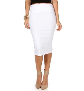 white midi pencil skirt in stores