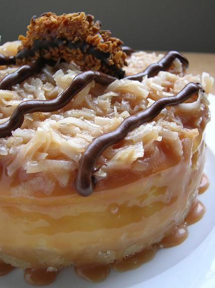 Samoas Cheesecake (culinary concoctions by peabody).  It's cheesecake.  With caramel.  And chocolate.  And coconut.  Need I say more?