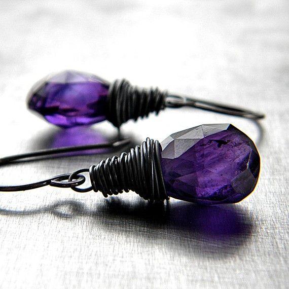 Modern Gothic purple earrings