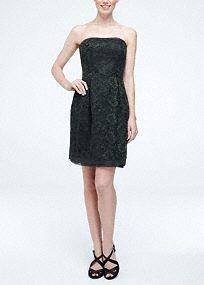 Short Strapless Contrast Corded Lace Bridesmaid Dress, Style W10184 #davidsbridal #bridesmaids #blacktiewedding