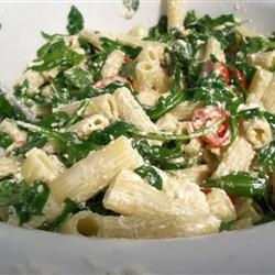 Goat Cheese and Arugula over Penne delicious!