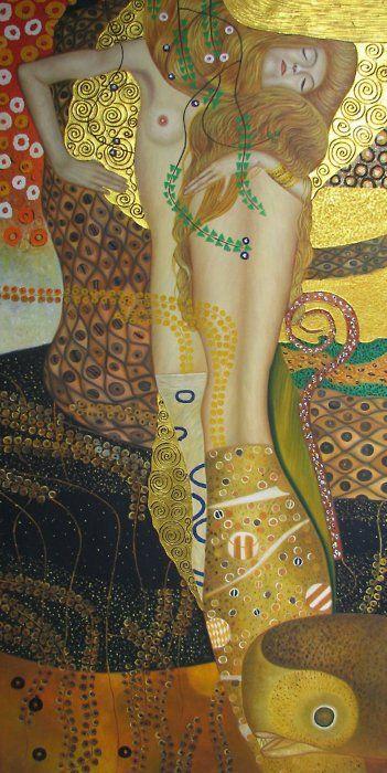 'Water Serpents I' by Gustav Klimt,1904-07. Oil and gold on canvas. Galerie Belvedere, Vienna, Austria.