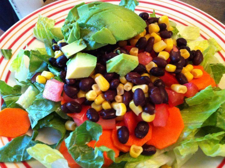 Southwestern Salad with vegan cilantro dressing. I think I'll use an ...