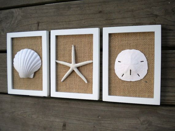 Cottage Chic Set Of Beach Decor Wall Art Sea Shells Home Decor Sand