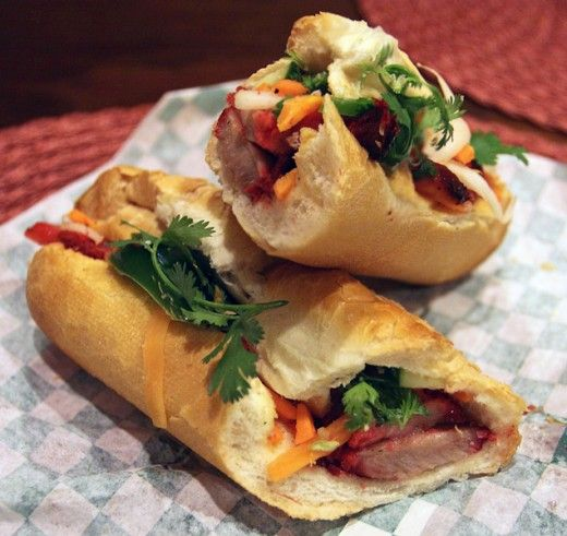 Pork Banh Mi Baguette with Caramelized Pork, Vegetables, Pickles