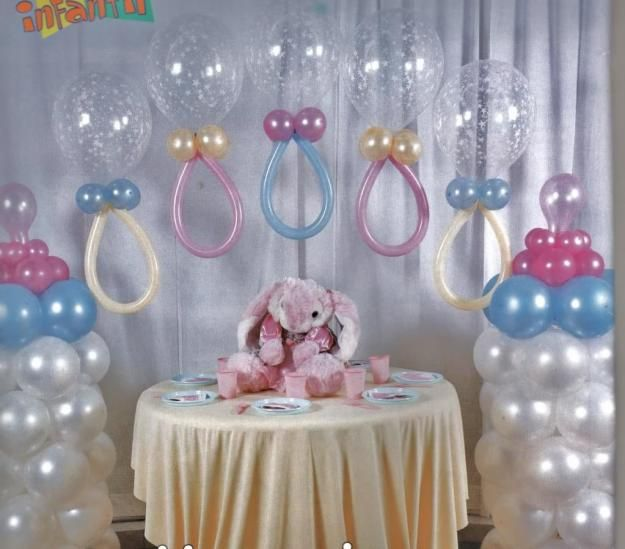 Pacifier balloon arch for a baby shower baby shower for Baby shower decoration ideas with balloons