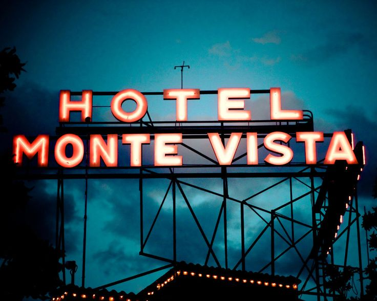 Hotel Monte Vista Neon Sign at Night in Flagstaff Arizona
