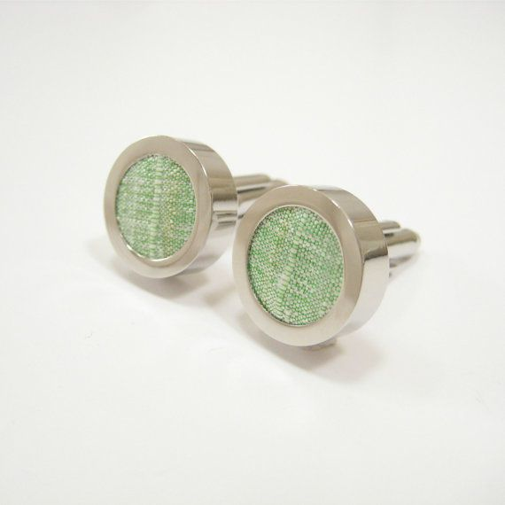 Mint green cuff links for men. silk wedding anniversary gift idea ...