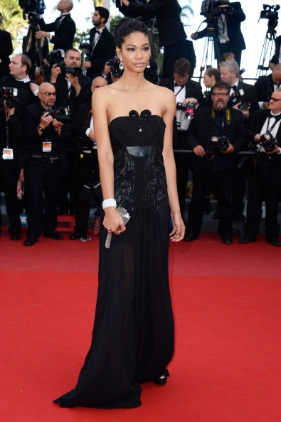 Chanel Iman with Louis Vuitton clutch and David Yurman jewellery in Cannes 2013