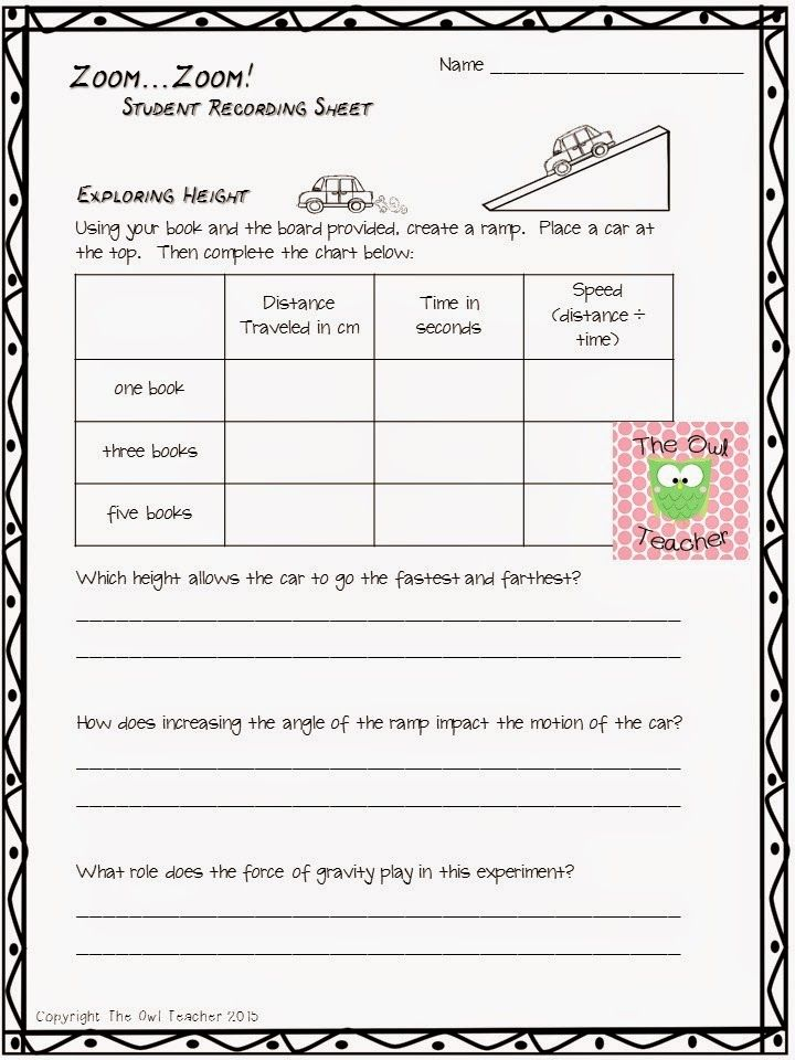 5th grade science worksheets force and motion