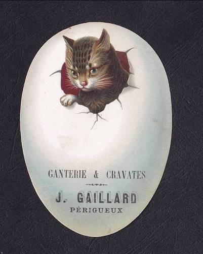 Victorian Die Cut Trade Card Tabby Cat Easter Egg J Gaillard Chromo French Scrap | eBay