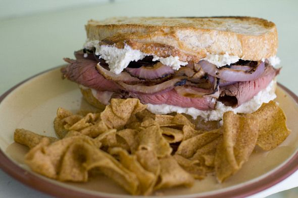 Guinness Marinated Flank Steak Sandwiches with Grilled Onions and ...