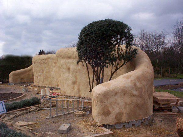 Straw bale wall Earthship Pinterest