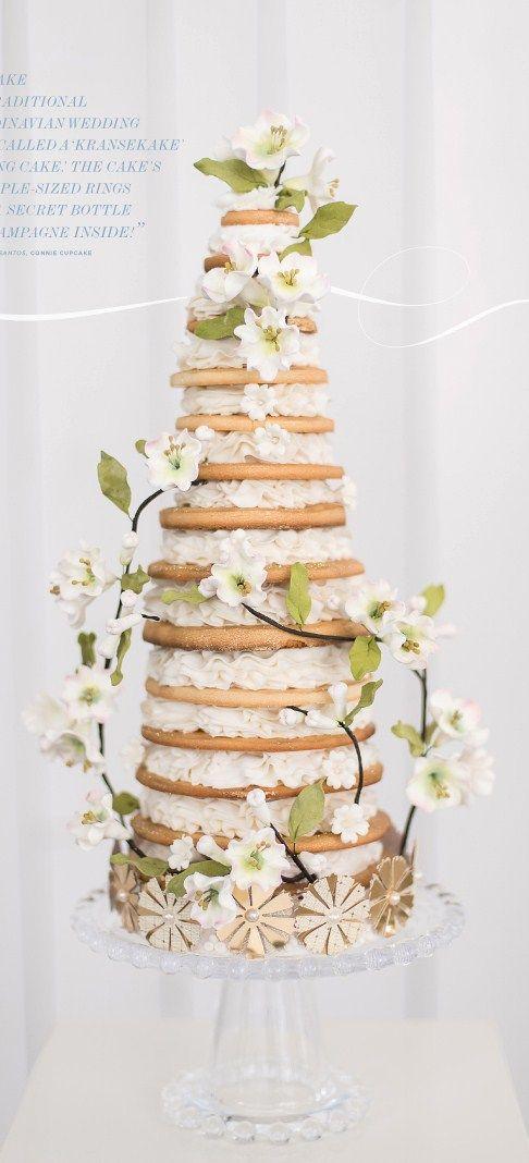 """Kransekake, or """"Ring Cake,"""" ~ traditional scandinavian wedding cake..."""