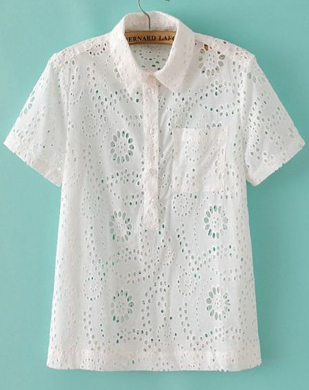 White Short Sleeve Hollow Embroidery Blouse 74