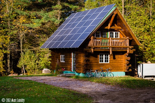 log-cabin w/ solar panels | North Woods | Pinterest