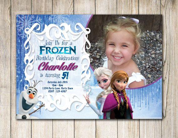 Frozen Birthday Photo Invitation-Custom Frozen Invitation- Frozen