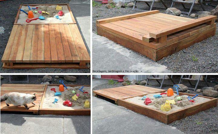 Caja de arena para los ni os con palets decoraci n - Decoracion con palets ...