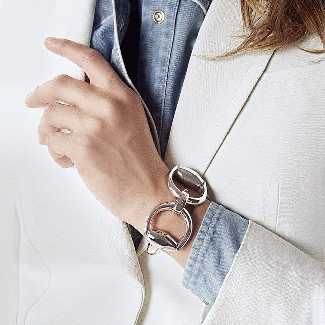 silver Horsebit bracelet -gucci