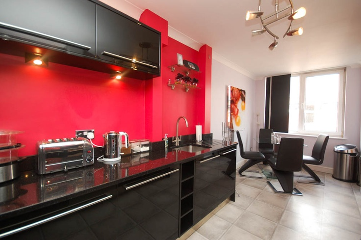Red and black kitchen house design pinterest for Kitchen designs red and black