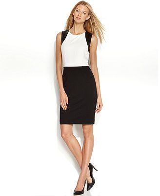 Calvin Klein Sleeveless Faux-Leather Colorblock Sheath