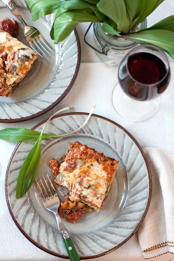 Ramp & sausage lasagna