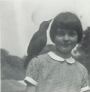 gingham girl and pet bird