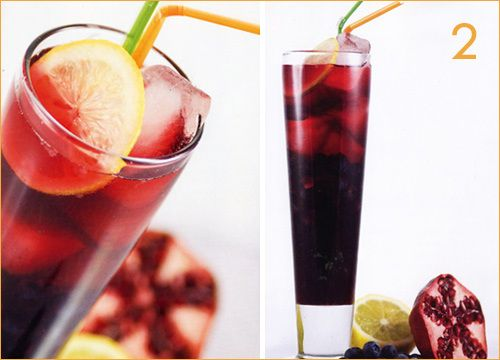 Pomegranate Cooler Mock'tini: Blueberries, pom juice, pom soda, white ...