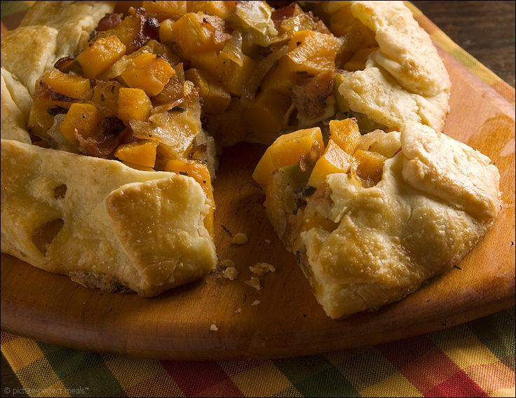 Apple and Butternut Squash Galette with Caramelized Onions and Bacon