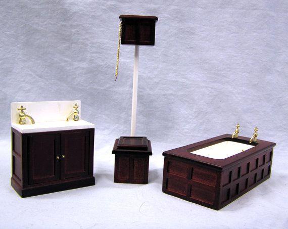Vintage Victorian Mahogany Bathroom Set Dollhouse Miniature Furniture