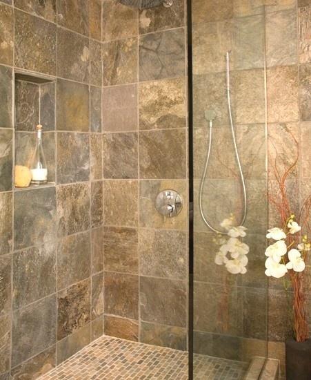 Slate bathroom tile pinterest for Slate tile bathroom ideas