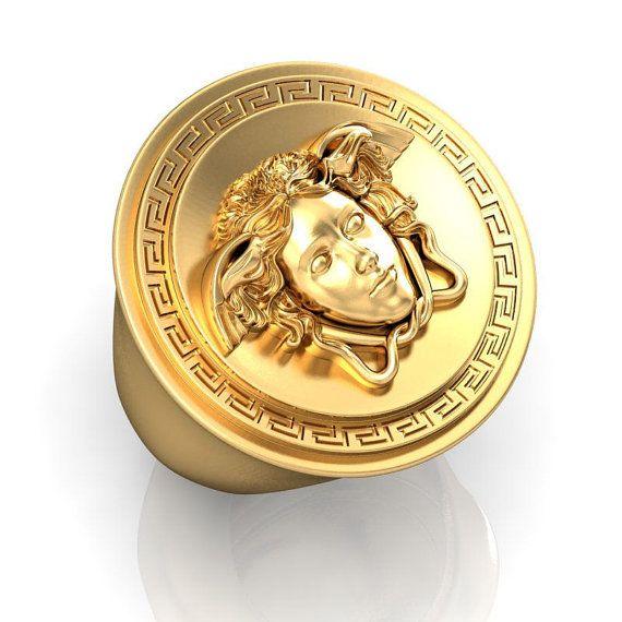 18k gold versace style medusa ring