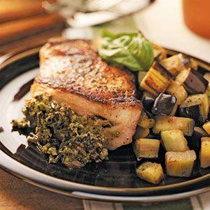 Pesto Rice-Stuffed Pork Chops Recipe photo by Taste of Home ...