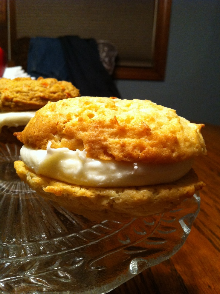 Coconut Whoopie Pie with a Coconut Rum Cream Cheese filling.