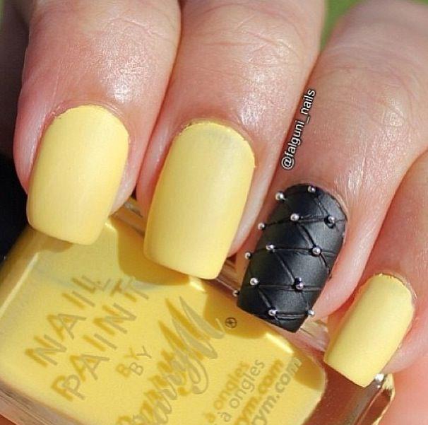 yellow matte nails - photo #2