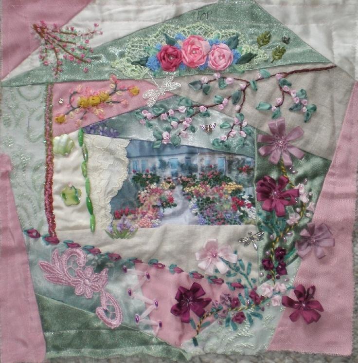 Ribbon embroidery crazy quilt needle arts pinterest