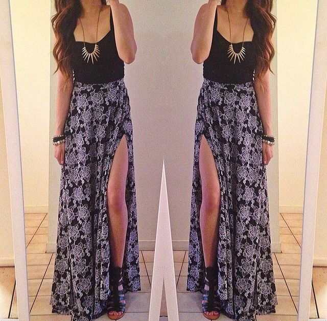 black crop top and maxi skirt fashion