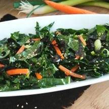 Sesame Kale Salad with Nori | Here's To Your Health | Pinterest