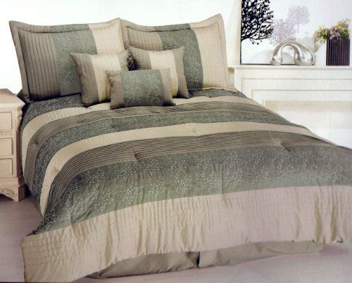 Pcs paramount embroidery floral comforter set queen earth tone green