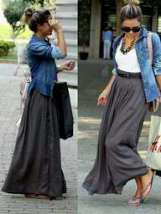 grey maxi skirt